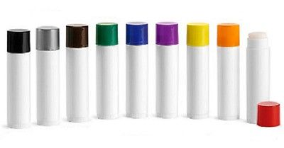 .15 OZ white CHAPSTICK LIP TUBES - w/ BLACK caps  - 500 QTY