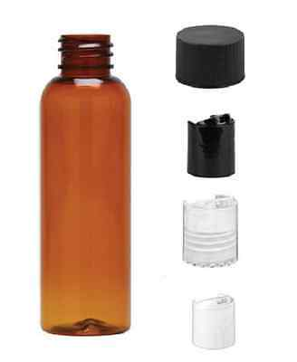 1 oz Amber Bullet Plastic Bottle -PET- 12 bottles & BLACK DISC Lids
