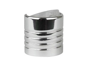 24/410 Disc top - Shiny Silver/NATURAL Dispensing Cap - EXPOSED THREAD