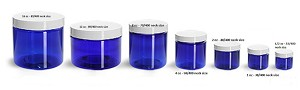 8 oz BLUE Basic Jar 70/400 PET w/ CHOICE of caps -32 sets FREE SHIPPING