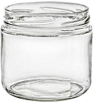 10 oz clear GLASS Round base jar  (CASE of 12 jars) with black metal lids