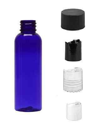 2 oz BLUE Bullet Plastic Bottle -PET- 12 bottles with BLACK RIBBED Lids freeship